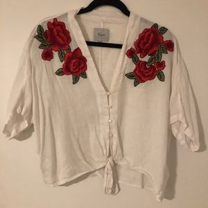 Rails Rose Embroidered, Tie Top